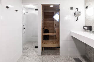 bathroom in room superior plus at scandic jyvaskyla station in finland