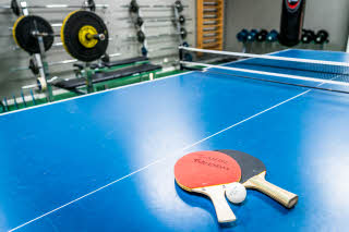 Table tennis in activity room