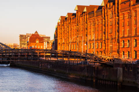 Architecutre of Hamburg at sunset